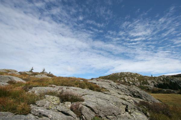 Rocks and clouds in the Fløyen area | Mount Fløyen hiking | Norway