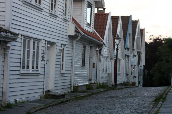 Picture of Old Stavanger (Norway): White houses lining a quiet street in Old Stavanger