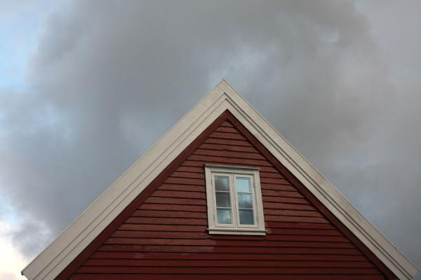 Picture of Old Stavanger (Norway): Top of house with dark cloud in Old Stavanger