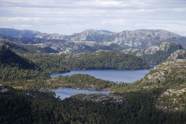 Picture of Preikestolen (Pulpit Rock) (Norway): Rocky mountains, trees, and lakes seen from a mountain close to Preikestolen