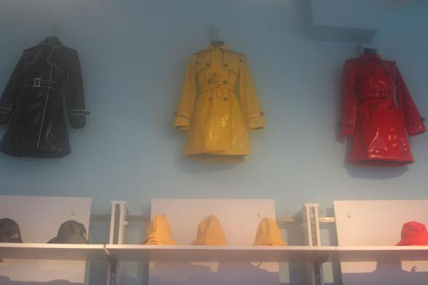 Picture of Fashionable rain clothes in bright colours in a specialized shop in Bergen