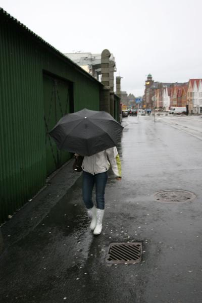 Hiding under an umbrella | Rainy Bergen | Norway