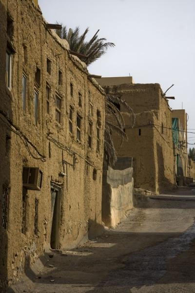 Row of adobe houses in a street of Al Hamra | Hamra Old Town | Oman