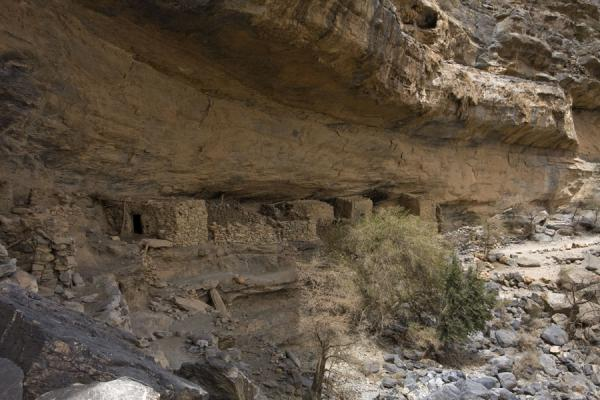 A few houses of the abandoned mountain village of Sap Bani Khamis | Jebel Shams Grand Canyon | Oman