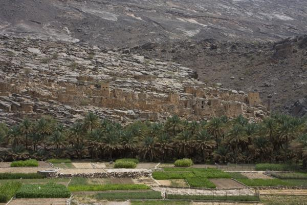 Abandoned village of Ghul at the entrance of Wadi Nakhr | Jebel Shams Grand Canyon | Oman