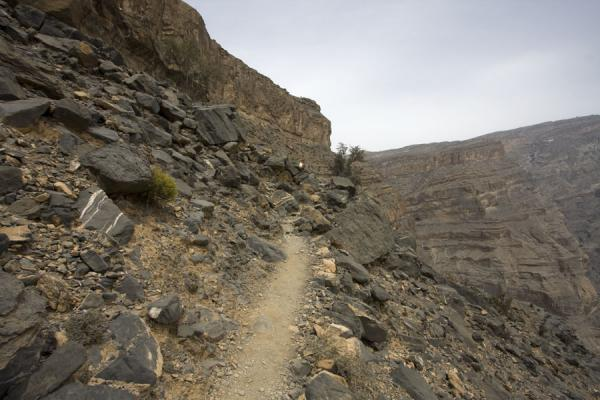 Path leading along the edge of the Grand Canyon | Jebel Shams Grand Canyon | Oman