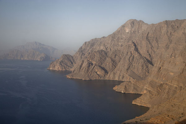 The steep mountains of Khor Najd in the late afternoon | Musandam Coastline | Oman