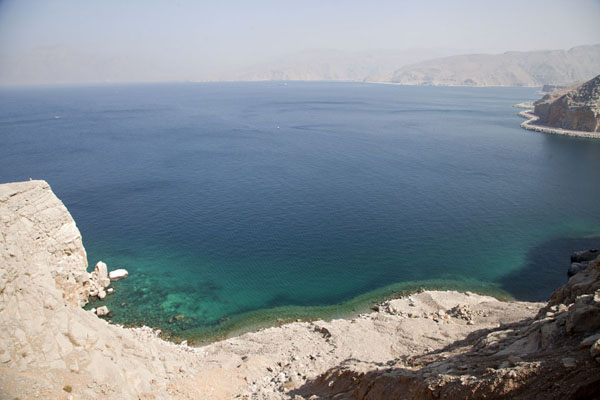 Picture of The clear waters of the bay north of Khasab, seen from above