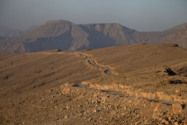 Gravel road on the Musandam mountains in the early morning | Musandam mountains | Oman
