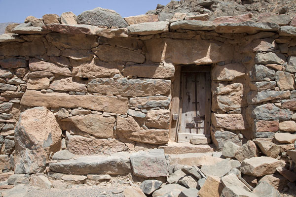 Picture of The older houses in Rawdah Bowl are made of stone with wooden doors, and a special locking system
