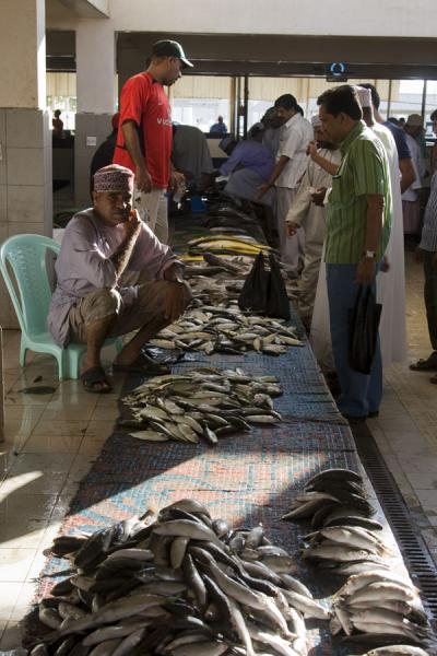 Picture of Market vendors at work at the fishmarket in Mutrah