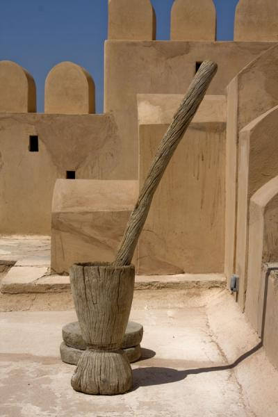 Picture of Nakhal Fort (Oman): Wooden instrument to grind grain and rice