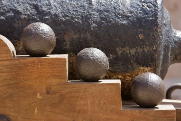 Close-up of cannon and balls in Nakhal Fort | Nakhal Fort | Oman