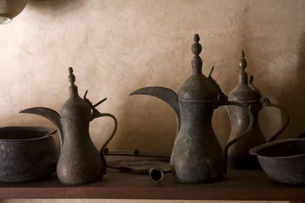 Elegant coffeepots on display in Nakhal Fort | Nakhal Fort | Oman