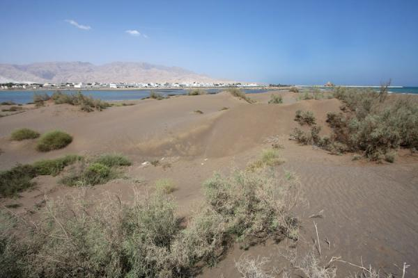 Picture of Qurayat (Oman): Sand dunes with Qurayat in the background