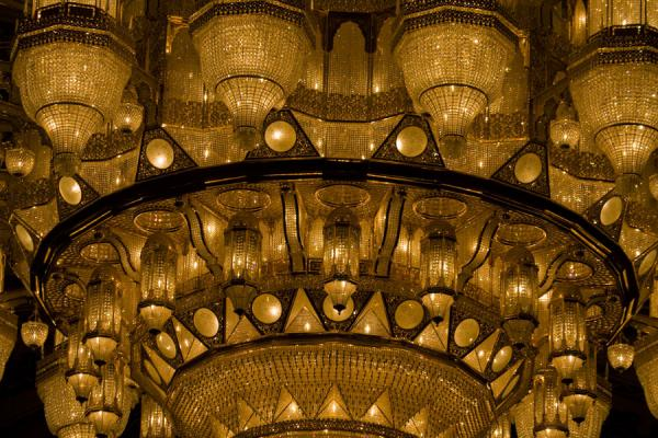 Close-up of the enormous chandelier with Swarovski crystals | Sultan Qaboos Grand Mosque | Oman