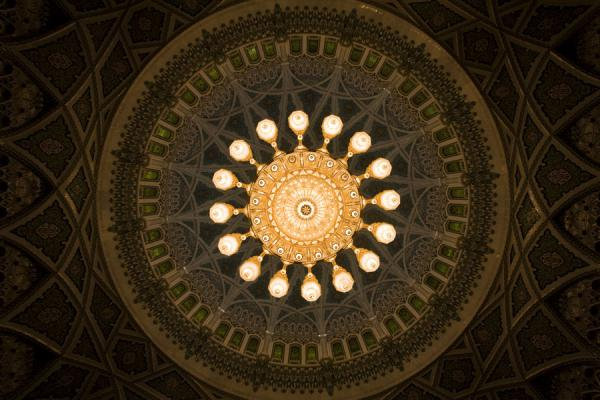 Picture of Sultan Qaboos Grand Mosque (Oman): View of the large chandelier from below