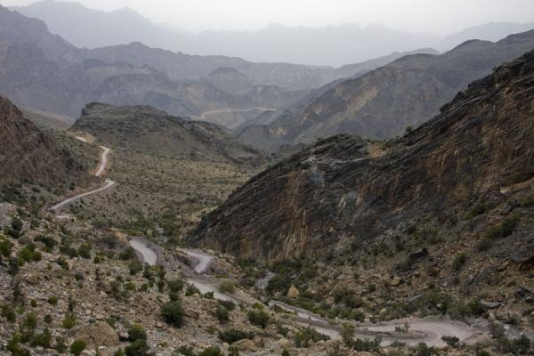 Looking back over the landscape of the upper parts of Wadi Bani Awf | Wadi Bani Awf | Oman