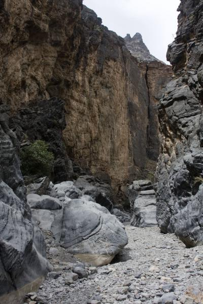 Photo de Narrow wadi with high walls of rock off Wadi Bani Awf - Oman - Asie