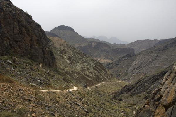 Picture of Wadi Bani Awf (Oman): Looking back over the rugged terrain of the upper parts of Wadi Bani Awf