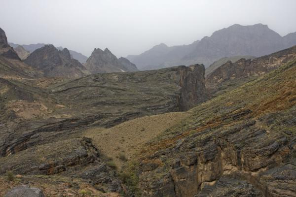 The rugged mountain scenery at the upper parts of Wadi Bani Awf | Wadi Bani Awf | Oman