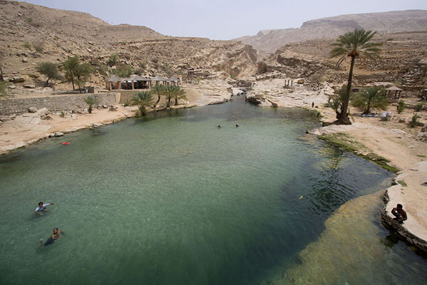 Looking out over the biggest pool at the lower section of the wadi | Wadi Bani Khalid | Oman