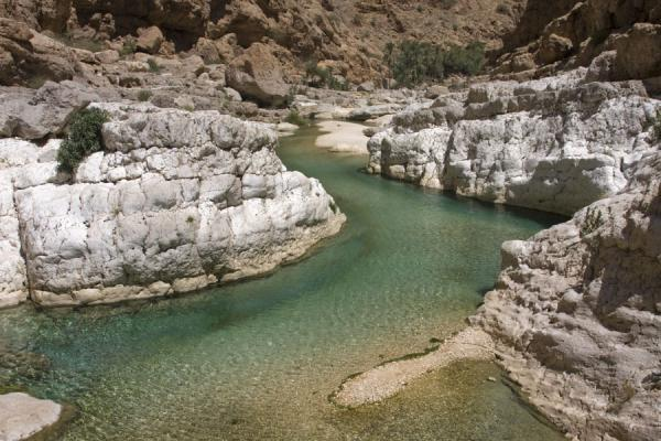 Picture of Rocks around one of the larger pools of Wadi Shab