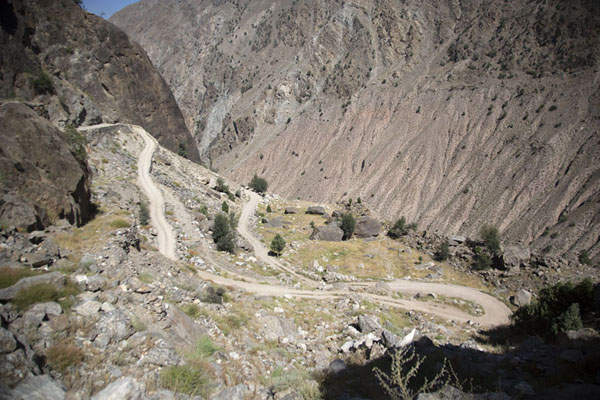 Switchbacks at higher altitude near the village of Tato | Fairy Meadows drive | Pakistan