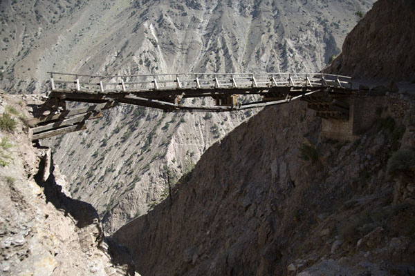 Wooden bridge, no longer in use | Fairy Meadows drive | Pakistan