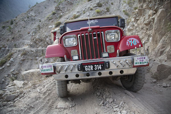 One of the jeeps parked on the track | Fairy Meadows drive | Pakistan