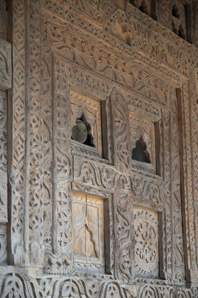 Decorated wooden panel in one of the old family mosques in Ganish | Ganish old town | Pakistan