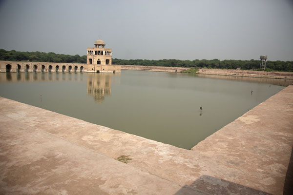 View of the Hiran Minar pond from the southwest side | Hiran Minar | Pakistan