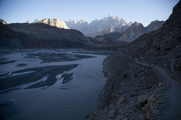 View over Hunza river with the Passu cones in the distance from the trail continuing after Hussaini suspension bridge | Pont suspendu Hussaini | Pakistan