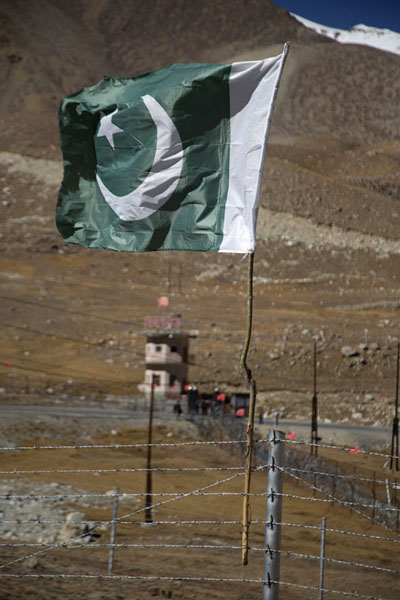 Pakistani flag flying at the border with China | Col de Khunjerab | Pakistan