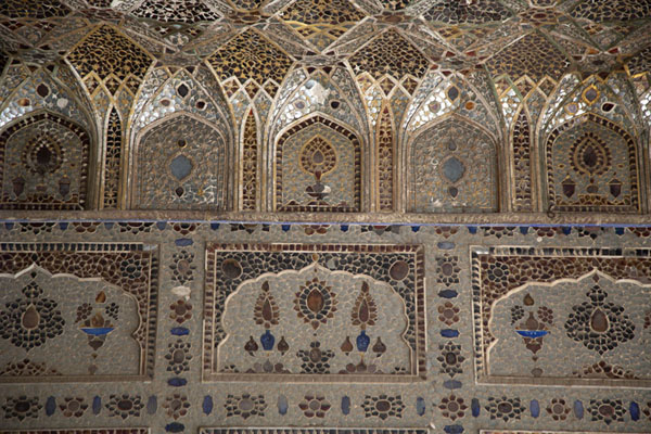 Close-up of wall and ceiling inside Sheesh Mahal, or Palace of Mirrors | Lahore Fort | Pakistan