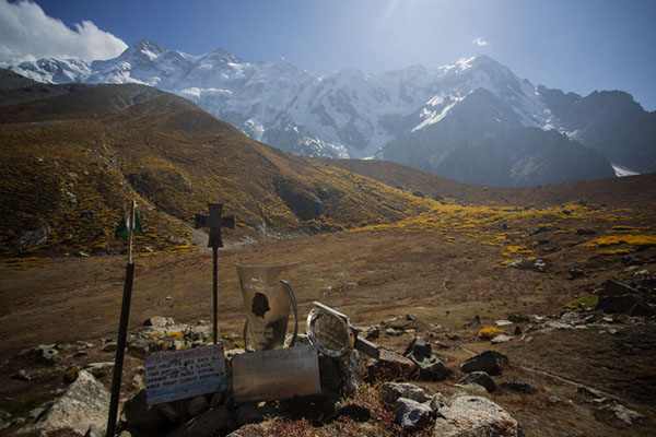 Picture of Memorial for mountaineers at Base Camp with Nanga Parbat range behind