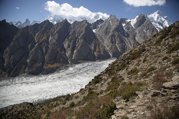 View of Passu glacier with Shispare Peak on the far right | Patundas | Pakistan
