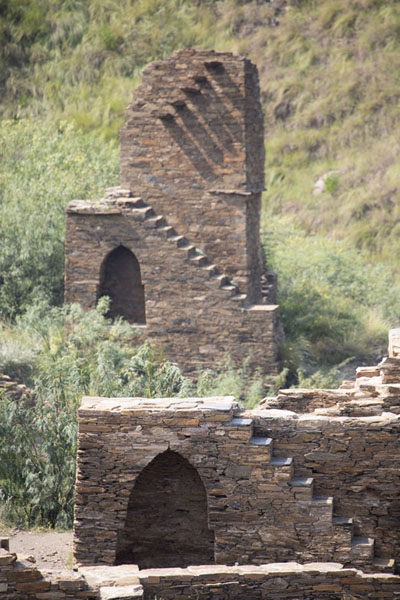 Ruined towers with stairs in an inaccessible area of the Takht-i-Bahi complex | Takht-i-Bahi | Pakistan