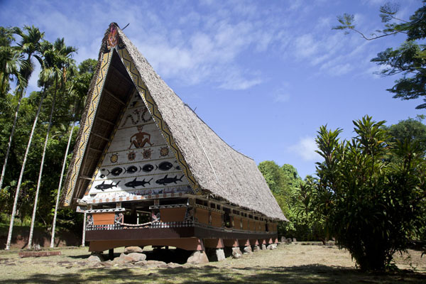 The bai of Melekeok stands in an opening in the forest | Babeldaob bai | Palau