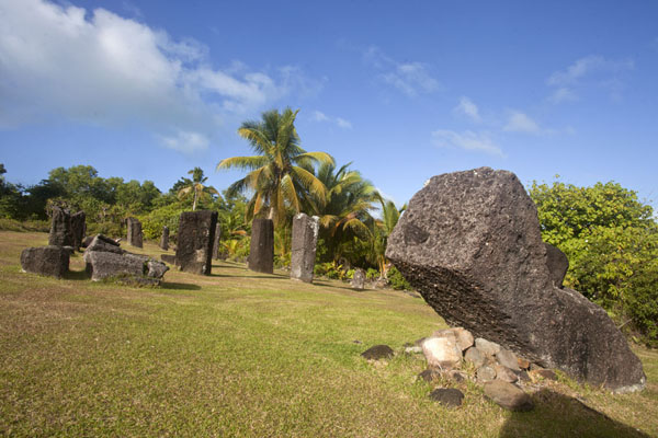 Picture of Badralchau monoliths (Palau): Rows of monoliths standing and fallen at the main area of Badrulchau