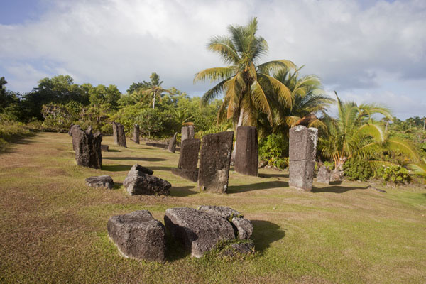 Picture of Puddingstone andesite monoliths lying and standing on a field of grassBadralchau - Palau