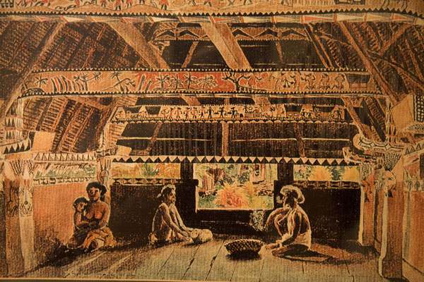 Drawing of the inside of a bai | Belau National Museum | Palau