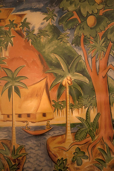 Detail of a book cover with typical Palauan scenery | Belau National Museum | Palau