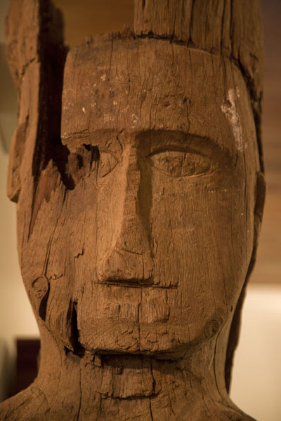 Wooden sculpture of Micronesian figure in the museum | Belau National Museum | Palau