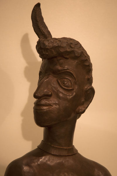 Wooden sculpture of a head | Belau National Museum | Palau