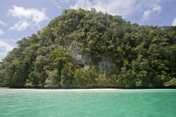 Foto van Tiny white beach on one of the many rock islandsRock Islands - Palau