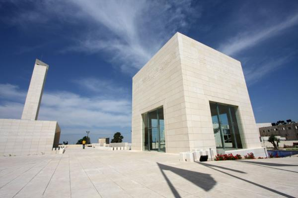Mausoleum, mosque and shadows of flags | Arafat Mausoleum | Palestinian Territories