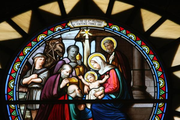 Religious scene depicted in a stained glass window in the Church of St Catherine | Church of the Nativity | Palestinian Territories