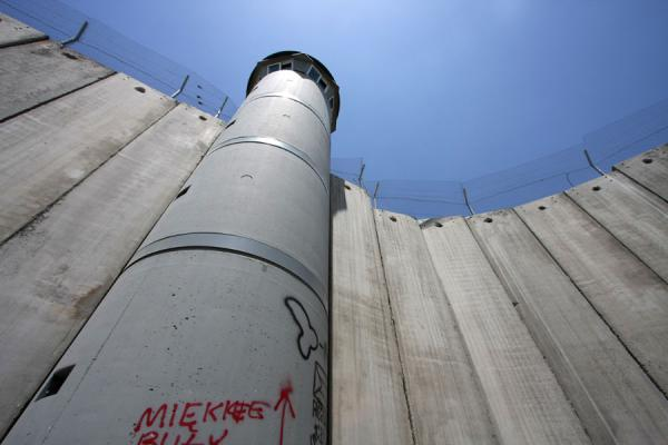 Picture of Israeli Wall (Palestinian Territories): High wall and watchtower near Bethlehem
