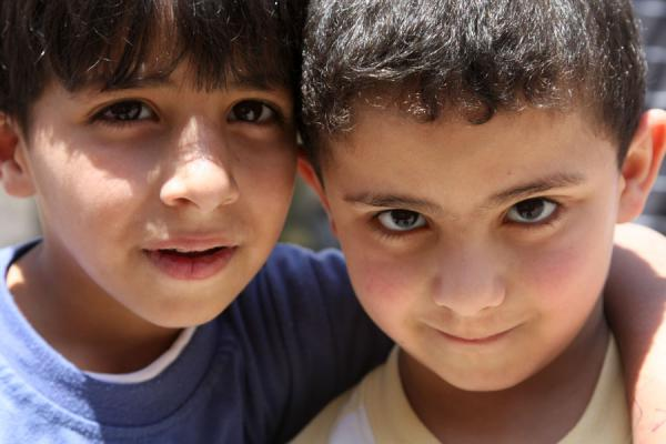 Two Palestinian boys posing for a picture | Palestinians | Palestinian Territories